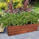 Benjara BM195218 Rectangular Metal Flower Planter Box with Embossed Line Design, Large, Copper
