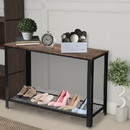 Benjara BM195811 Iron Framed Console Table with Wooden Top and Wire Mesh Open Shelf, Brown and Black