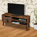 Benjara BM195840 Retro Style Wooden TV Stand with Two Open Compartment and One Door Cabinet, Brown