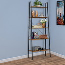 Benjara BM195846 Five Tiered Rustic Wooden Ladder Shelf with Iron Framework, Brown and Black