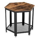Benjara BM195864 Iron Framed End Table with Wooden Top and Wire Mesh Open Shelf, Brown and Black