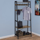 Benjara BM195873 Iron Framed Coat Rack with Two Storage Shelves and Hanging Rail, Brown and Black