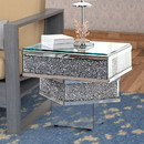 Benzara BM195946 Wood and Mirror End Table with Tier Design, Clear