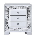 Benjara BM195987 Faux Crystal Inlaid Wooden Nightstand with Three Spacious Drawers, Clear and Black