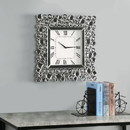 Benjara BM196012 Wood and Mirror Wall Clock with Glass Crystal Gems, Clear and Black