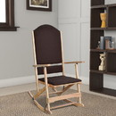 Benjara BM196595 Wooden Folding Rocking Chair with Woven Fabric Upholstered Seat and Back, Brown