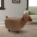 Benjara BM196605 Sheep Shape Wooden Ottoman with Fabric Upholstery, Brown