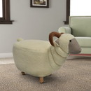 Benjara BM196606 Sheep Shape Wooden Ottoman with Fabric Upholstery, Cream and Brown