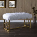 Benjara BM196716 Modern Style Faux Fur Upholstered Bench with Geometrical Side Panels, White and Gold