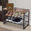 Benjara BM197487 Industrial 3 Tier Wood Top Shoe Rack with Metal Base, Black and Brown