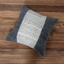 Benjara BM200553 18 x 18 Hand Woven Cotton Pillow with Block Print, White and Gray
