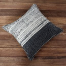 Benjara BM200554 18 x 18 Hand Woven Cotton Dhurri Pillow with Block Print, White and Gray