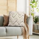 Benjara BM200556 18 x 18 Cotton Pillow with Fringe and Sequin Chevron Details, Beige