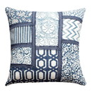 Benjara BM200565 18 x 18 Hand Block Cotton Pillow with Patchwork Details, Set of 2, Blue and White