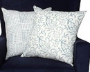Benjara BM200567 18 x 18 Nature Inspired Cotton Pillow with Geometric Details, Set of 2, Blue and White