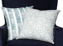 Benjara BM200568 18 x 18 Block Striped Cotton Pillow with Floral Motif, Set of 2, White and Blue