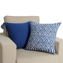 Benjara BM200570 18 x 18 Hand Block Printed Cotton Pillow with Ikat Pattern, White and Blue