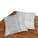 Benjara BM200571 18 x 18 Hand Block Printed Cotton Pillow with Kilim Pattern, Set of 2, Black and White