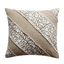 Benjara BM200573 18 x 18 Hand Block Printed Cotton Pillow with Patchwork Details, Brown and Beige