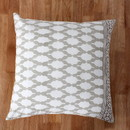 Benjara BM200575 18 x 18 Block Printed Cotton Pillow with Geometric Details, Set of 4, Gray and White