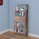 Benjara BM200687 Wooden Bookcase with Four Open Shelves and Two Drawers, Brown