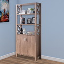 Benjara BM200688 Spacious Wooden Bookcase with Three Open Shelves and Double Boor Cabinet, Brown