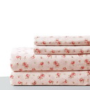 Benzara BM202116 Melun 4 Piece Queen Size Rose Pattern Sheet Set The Urban Port, Pink