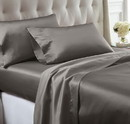 Benzara BM202385 Nantes 4 Piece Wrinkle Resistant Queen Size Satin Sheet Set The Urban Port, Gray