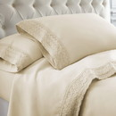 Benzara BM202397 Udine 4 Piece Queen Size Microfiber Sheet Set with Crochet Lace The Urban Port, Cream