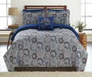 Benzara BM202761 Caen 8 Piece Printed California King Reversible Bed Set The Urban Port, Gray and Blue