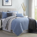 Benzara BM202793 Andria 10 Piece Queen Size Comforter and Coverlet Set The Urban Port, Blue and Gray
