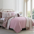 Benzara BM202794 Andria 10 Piece Queen Size Comforter and Coverlet Set The Urban Port, Brown and Pink