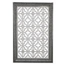 Benjara BM203739 Traditional Wooden Wall Panel with Intricate Designs, Black and Silver