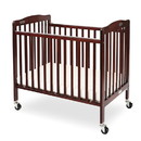 Benjara BM204061 Slatted Foldable Pocket Wooden Crib with Casters Support, Cherry Brown