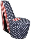 Benjara BM204209 Flag Print High Heel Shaped Chair with Storage, Multicolor