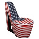 Benjara BM204211 Wooden High Heel Shaped Storage Chair with Flag Print, Multicolor