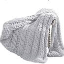 Benjara BM204281 Dreux Acrylic Cable Knitted Chunky Throw The Urban Port, Silver