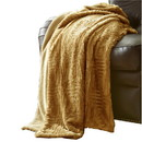 Benjara BM204288 Treviso Faux Fur Throw with Fret Pattern The Urban Port, Yellow