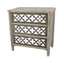 Benjara BM204750 Quatrefoil Wooden Storage Cabinet with 3 Drawers, Brown and Silver