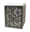 Benjara BM204753 Mirror Top Wooden End Table with Floral Cut Out, Black and White