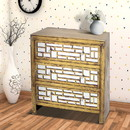 Benjara BM204777 Wood and Mirror Trim Storage Cabinet with 3 Drawers, Gold and Silver