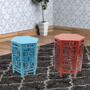 Benjara BM204779 2 Piece Hexagonal Wooden Side Table with Cut Out Details, Red and Blue
