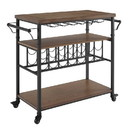 Benjara BM204947 Wooden Wine Rack with Casters and Bottom shelf, Black and Brown