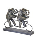 Benjara BM205090 Polyresin Art Piece with Elephants And Tandem Bicycle, Bronze