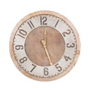 Benjara BM205252 Traditional Wooden Wall Clock with Rustic Textured Numericals, Brown