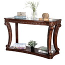 Benjara BM205337 Traditional Sofa Table with Cabriole Legs and Wooden Carving, Brown