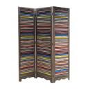 Benjara BM205388 3 Panel Modern Style Foldable Wooden Shutter Screen, Multicolor