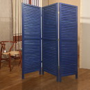 Benjara BM205393 3 Panel Foldable Wooden Shutter Screen with Straight Legs, Blue