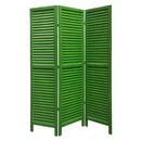 Benjara BM205394 3 Panel Foldable Wooden Shutter Screen with Straight Legs, Green