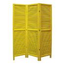 Benjara BM205397 3 Panel Foldable Wooden Shutter Screen with Straight Legs, Yellow